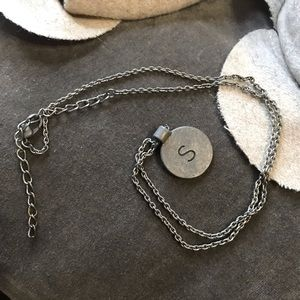 Jewelry - S Initial Necklace in Flat Silver